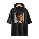 Unique Short Sleeve Rose Character Printed Loose Unisex Hooded T-Shirt