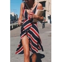 Hot Popular Plunge Neck Classic Blue and Red and White Striped Printed Midi A-Line Slip Dress