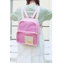 Girls' Simple Fashion Candy Color Sheer PU Backpack 27*31cm