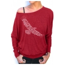 Simple Eagle Printed One Shoulder Long Sleeve T-Shirt