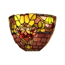 Double Light Purple Glass Shade Tiffany Wall Sconce Featuring Grapevine Motif 9.5