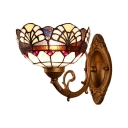 Bowl Wall Lamp Baroque Tiffany Style Stained Glass Wall Sconce in Multicolor for Kitchen