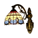 Dome Wall Light Baroque Tiffany Style Stained Glass Decorative Wall Sconce in Multicolor