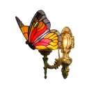 Butterfly Wall Lamp Animal Tiffany Style Wall Sconce Stained Glass in Navy Blue/Scarlet Red