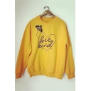 Yellow Long Sleeve Round Neck Cartoon Bee Letter Printed Sweatshirt