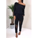 Sexy One Shoulder Long Sleeve Drawstring Waist Rolled Cuff Cutout Detail Plain Casual Jumpsuits