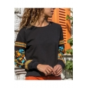Stylish Floral Printed Long Sleeve Round Neck Pullover Loose Casual Black Sweatshirt