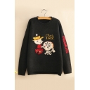 Funny Cartoon Character Letter Printed Long Sleeve Round Neck Knit Sweater