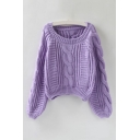 Winter's New Arrival Puff Sleeve Scoop Neck Cable Plain Cropped Sweater