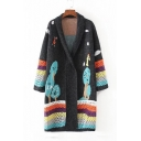 Warm Colorful Long Sleeve Open Front Colorblock Pattern Hollow Out Tunics Cardigan