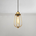 Bulb Style Wire Guard Drop Light Vintage Steel 1 Light Hanging Lamp for Porch Foyer Bedside