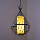 Loft Style Water Drop Ceiling Pendant Light Metal Caged 1 Light Pendant Lighting for Foyer