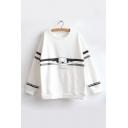 Trendy Long Sleeve Round Neck Cartoon Bear Letter Printed Leisure Sweatshirt