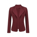 Ladies' Office Lapel Collar Long Sleeve Basic Solid Open Front Slim Blazer