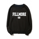 Letter FILLMORE Printed Long Sleeve Round Neck Leisure Black Sweatshirt