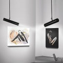 Cylinder LED Spotlight Modern Style Metal 1 Light Track Pendant Light in Black Finish