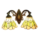 Double Head Geometric Sconce Light Tiffany Style Stained Glass Wall Lighting in Green