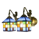 House Wall Sconce Tiffany Stylish Stained Glass 2 Light Wall Light in Blue/Clear for Hallway