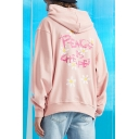 Letter PEACE IS CHEAPER Floral Printed Back Long Sleeve Fashion Loose Hoodie for Men