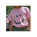 Funny Mock Neck Short Sleeve Letter NO THANK YOU Printed Fitted Pink T-Shirt