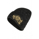 Warm Plush Floral Embroidered Knit Outdoor Beanie Hat