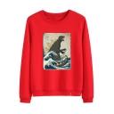Round Neck Long Sleeve Dinosaur Printed Cozy Leisure Sweatshirt