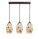 Jeweled Lighting Fixture Tiffany Style Shelly Triple Pendant Lamp in Beige for Sitting Room