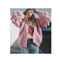 Girl's Fashion Pink Plain Double Knitted Open Front Blouson Sleeve Loose Cardigan