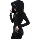 Gothic Black Grommets Detail Zip Closure Long Sleeve Slim Fit Hoodie