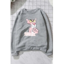 Unique Panther Pattern Round Neck Long Sleeves Pullover Sweatshirt