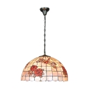 Dragonfly and Flower Drop Light Tiffany Style Vintage Beige Glass 3 Light Pendant Lamp