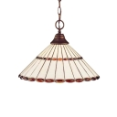 Conical Lighting Fixture Tiffany Style Stained Glass 1 Bulb Hanging Light in Bronze Finish