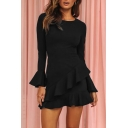 Flare Long Sleeve Plain Round Neck Ruffle Hem Sheath Mini Black Dress
