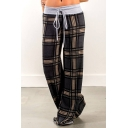 Vintage Drawstring Waist Plaid Printed Lazy Cozy Wide Leg Pants