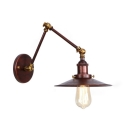 Steel Flared Shade Wall Lamp Vintage 1 Light Sconce Lighting in Rust with Swing Arm