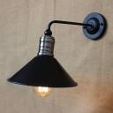 Chrome Finish Cone Wall Light Retro Style Iron Single Bulb Sconce Lighting for Foyer