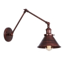 Iron Coolie Shade Wall Light Industrial Adjustable 1 Head Wall Sconce in Rust Finish