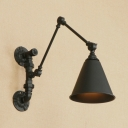 Rotatable Conical Small Wall Sconce Industrial Metal 1 Bulb Wall Mount Fixture in Black