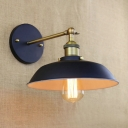 Armed Wall Mount Fixture Retro Style Metal 1 Light LED Wall Light in Antique Brass