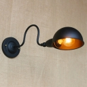 Black Finish Dome Wall Sconce Vintage Steel 1 Light Wall Mount Fixture with Curved Arm