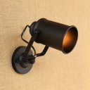 Rotatable 1 Light Cylinder Sconce Light Industrial Iron Wall Light in Black for Staircase