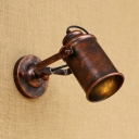 Rust Finish Cylinder Wall Mount Light Industrial Retro Style Metal Single Bulb for Corridor