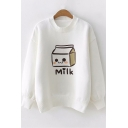 Milk Box Printed Long Sleeve Round Neck White Fitted Sweater