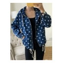 Dark Blue Polka Dot Printed Zip Placket Drawstring Hem Hooded Coat