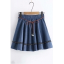New Fashion Elastic Waist Pearl Belt Mini A-Line Skirt