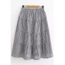 Antique Polka Dot Printed Elastic Waist Midi A-Line Skirt