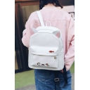 Cute Animal Ear Design Letter CAT Printed Leisure White Backpack Schoolbag