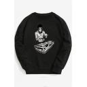 Street Style Long Sleeve Character Printed Round Neck Leisure Sweatshirt