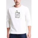 New Trendy Long Sleeve Round Neck Milk Pattern Cozy Sweatshirt for Men