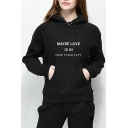 MAYBE LOVE IS IN NEW YORK CITY Letter Printed Long Sleeve Fitted Hoodie